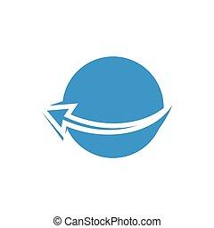 cercle, global, vecteur, logo, commercer, géométrique, flèches