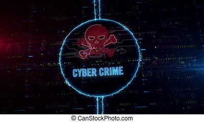 cercle, hologramme, électrique, cyber, crime