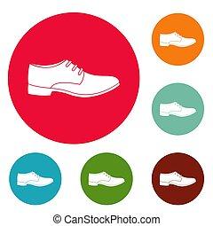 cercle, hommes, ensemble, chaussure, icônes