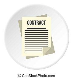 cercle, icône, contrat