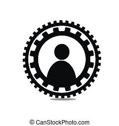 cercle, icône, engrenages, gens