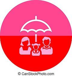 cercle, icône, -, famille, parapluie