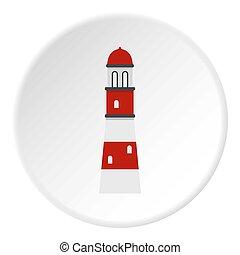 cercle, icône, phare