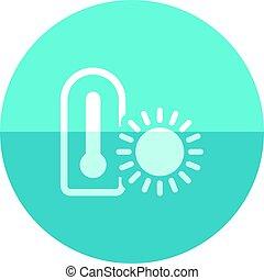 cercle, icône, -, thermomètre