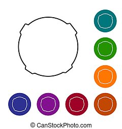 cercle, lune, buttons., ligne, ensemble, icône, vecteur, isolé, arrière-plan., blanc, noir, illustration, icônes, couleur
