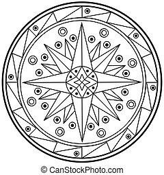 cercle, mandala, géométrique, sacré, dessin