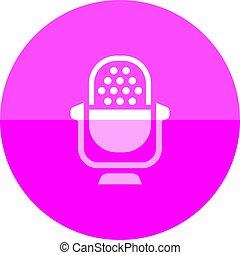 cercle, -, microphone, icône