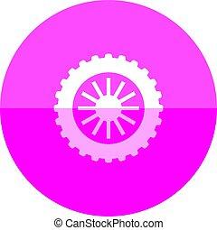 cercle, -, motocyclette, pneu, icône
