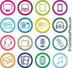cercle, multimédia, icône, ensembles