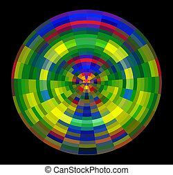 cercle, noir, coloré