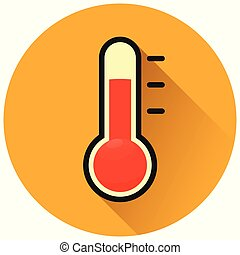 cercle orange, concept, thermomètre, icône