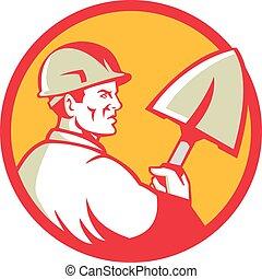 cercle, ouvrier construction, retro, bêche
