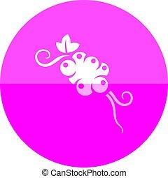 cercle, pamplemousse, -, icône