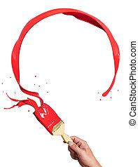 cercle, peinture rouge, éclaboussure