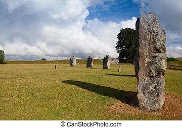 cercle pierre, dans, avebury., grande-bretagne