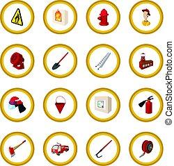 cercle, pompier, dessin animé, icône