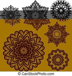cercle, résumé, ensemble, patterns., dentelle