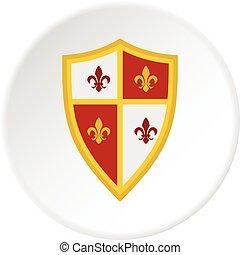 cercle, royal, bouclier, icône