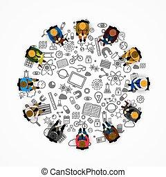 cercle, séance gens