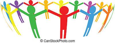cercle, vecteur, -, icône, gens