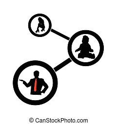 cercle, vecteur, silhouette, gens