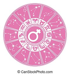 cercle, woman.zodiac, signe, horoscope