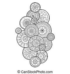 cercles, été, fleur, art, griffonnage, ornament., main, arrière-plan., mandalas., noir, ethnique, dessiné, blanc