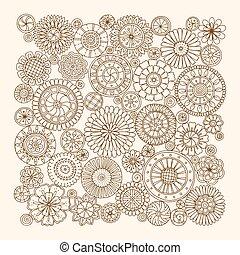 cercles, été, fleur, art, sketch., trace, dessiné, griffonnage, ornament., pattern., main, arrière-plan., mandalas., fait, noir, ethnique, grunge, blanc
