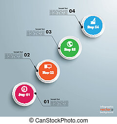 cercles, étapes, diagramme, 4