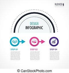 cercles, être, utilisé, bannière, business, flot travail, options., timeline, nombre, disposition, diagramme, 3, étapes, boîte, données, infographics, toile, design.