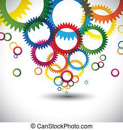 cercles, anneaux, graphique, coloré, icônes, beaucoup, résumé, contient, -, ou, arrière-plan., couleurs, vecteur, engrenages, roue dentée