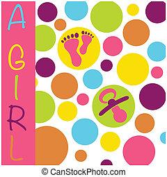cercles, annonce, factice, nouveau né, pieds, naissance, dorlotez fille, carte