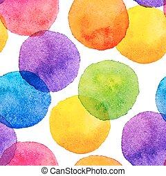 cercles, arc-en-ciel, clair, peint, modèle, seamless, aquarelle, couleurs