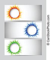 cercles, bannières, ensemble