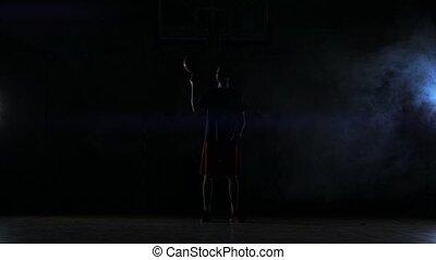 cercles, basket-ball, rue, joueur, balle, whilst, rotation, appareil photo, lui