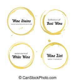 cercles, blanc, tache, vin