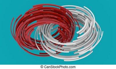 cercles, bleu, blocs, rendre, résumé, shapes., tourner, arrière-plan., engendré, informatique, rouges, géométrique, blanc, animation., boucle, 3d