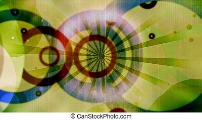 cercles, bleu, cg, multicolore, faire boucle, vert, retro, textured, noir, animé, toile de fond, rouges