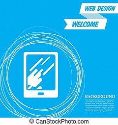 cercles, bleu, reflet, tablette, lumière, résumé, text., vecteur, endroit, fond, icône, ton, autour de
