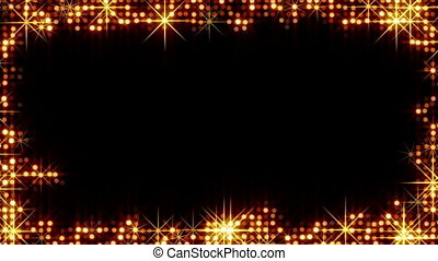 cercles, cadre, brillant, étoiles, or