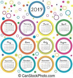 cercles, calendrier, 2017, coloré