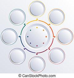 cercles, cercle, huit, rond