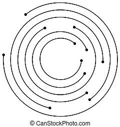 cercles, circulaire, dots., aléatoire, conception spirale, ...