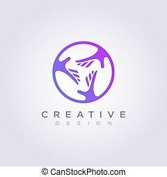 cercles, clipart, symbole, chaque, portée, illustration, vecteur, conception, gabarit, mains, logo, autre