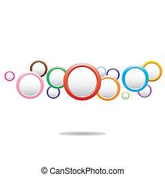 cercles, coloré, fond, résumé