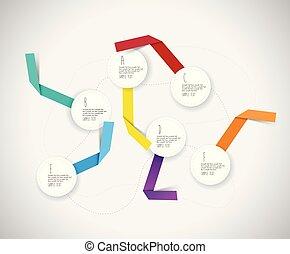 cercles, coloré, infographic, papier, gabarit, ribbons.
