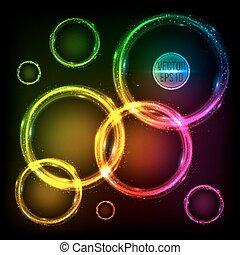 cercles, coloré, résumé, néon, fond, cadres