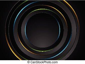 cercles, coloré, résumé, néon, fond, lueur