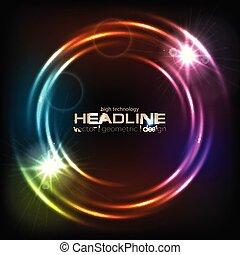 cercles, coloré, résumé, néon, incandescent, fond, brillant