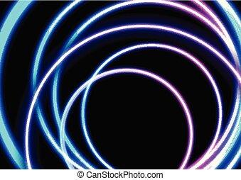 cercles, coloré, résumé, néon, incandescent, fond